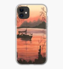 Fishing at Sunset in Massachusetts by Suzanne Marie Leclair iPhone Case