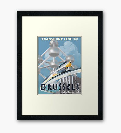 See Brussels and Europe by Rocket Train Framed Print