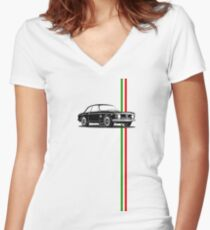 Alfa Romeo Giulia Sprint GTA with Italian flag stripe Women's Fitted V-Neck T-Shirt