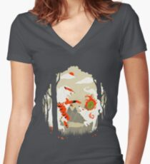 Great Wolves of Fire (Featured on Teefury) Women's Fitted V-Neck T-Shirt