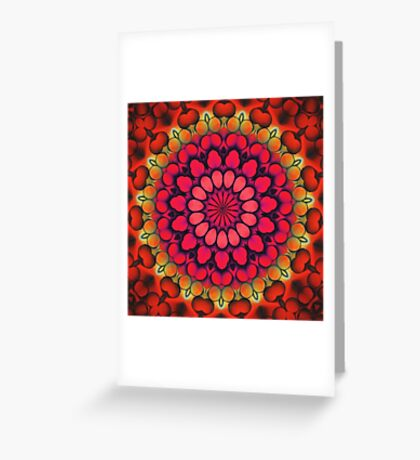 Mandala of Cocktail Straws in Fuschia, Ochre and Red Greeting Card