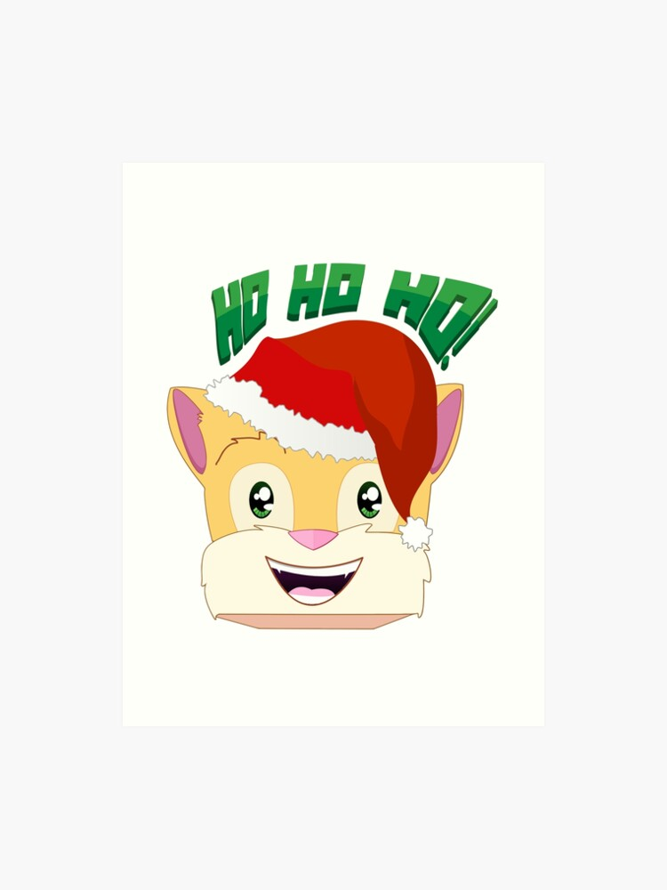 Stampylonghead Christmas.Minecraft Youtuber Stampy Cat Santa Christmas Winter Holiday Limited Edition Ho Ho Ho Art Print