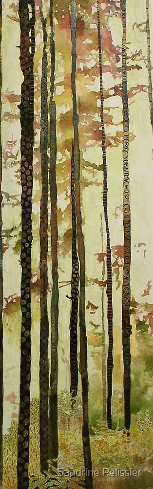 Forest Quilt, watercolor and mixed media on canvas by Sandrine Pelissier