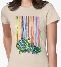Rainbow Succulents Women's Fitted T-Shirt