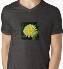 Pale Yellow Mary Bud Marigold With Garden Background Men's V-Neck T-Shirt
