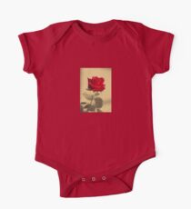 Red Rose Flower Isolated on Sepia Background One Piece - Short Sleeve