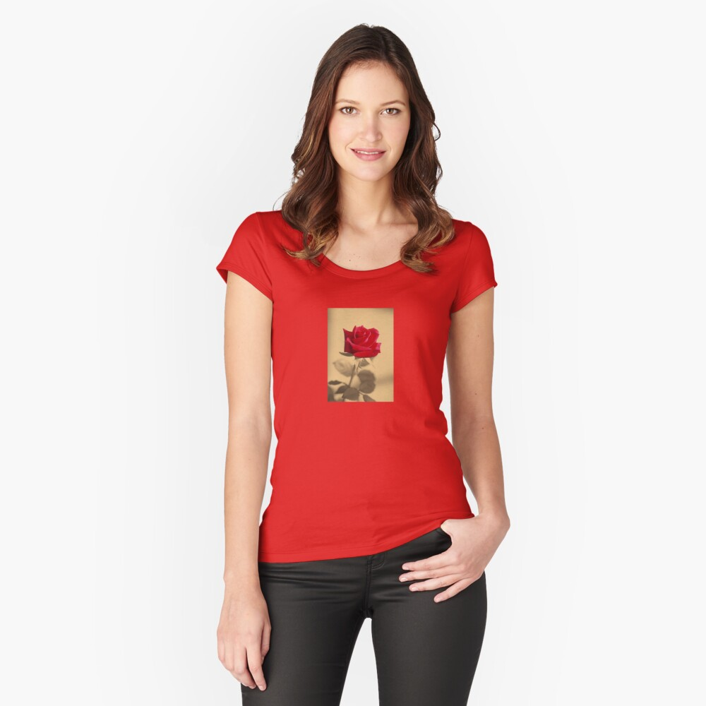 Red Rose Flower Isolated on Sepia Background Women's Fitted Scoop T-Shirt Front