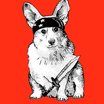 BAD dog – corgi carrying a knife by JennyHolmlund