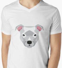 White Staffordshire Bull Terrier Men's V-Neck T-Shirt