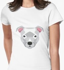 White Staffordshire Bull Terrier Womens Fitted T-Shirt