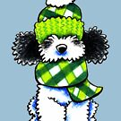 Parti Poodle Happy Plaid Scarf by offleashart