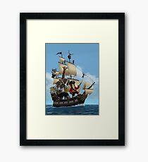 cartoon-animal-pirate-ship-martin-davey Framed Print