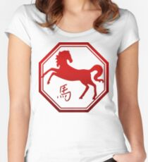 Chinese Zodiac Year of The Horse Symbol Women's Fitted Scoop T-Shirt