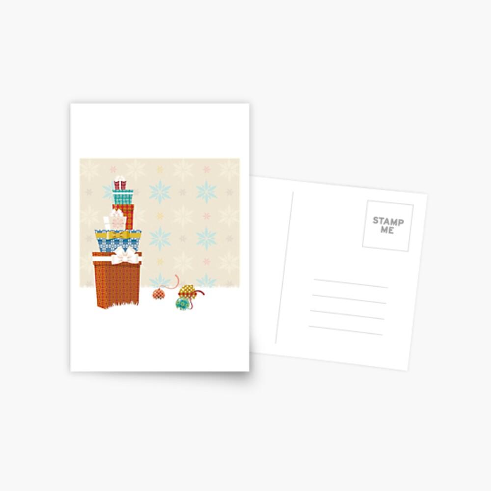 Gifts. Christmas time. Postcard