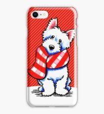 Westie Happy Red Plaid Scarf iPhone Case/Skin