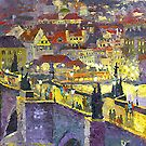 Prague Violet Panorama Night Light Charles Bridge by Yuriy Shevchuk