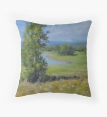 Summer Country Pond Painting in Impressionistic Realism Throw Pillow