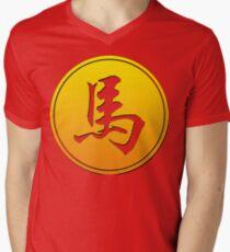 Chinese Zodiac Horse Symbol Men's V-Neck T-Shirt