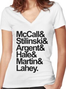 Teen Wolf Main 6 (Black Text) Women's Fitted V-Neck T-Shirt