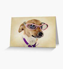 Fabulous Sunglasses Dog on Dusty Cream Background Greeting Card