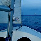 Full moon rising, last sail for the Summer, East Bay, Traverse City, MI by F.  Kevin  Wynkoop