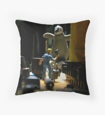 Infestation- penguin Throw Pillow