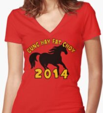 happy chinese new year 2014 womens fitted v neck t shirt - Chinese New Year 1966