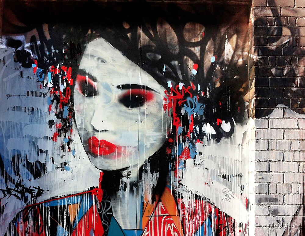 Japanese Lady graffiti, Blender Lane by Roz McQuillan
