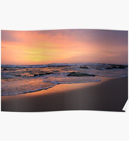 morning fire on the beach .. Poster