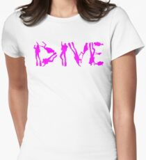 DIVE WITH DIVERS IN PINK Womens Fitted T-Shirt
