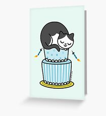 Birthday Cake with Cat Greeting Card