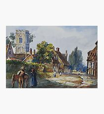 watercolour of Little Houghton, Northamptonshire, 1873 Photographic Print