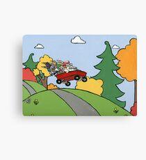 Awesome Bunny Wagon Ride Canvas Print
