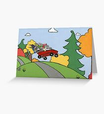 Awesome Bunny Wagon Ride Greeting Card