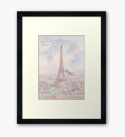 Bicycling through Paris Framed Print