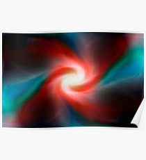 Red and blue abstract swirl Poster