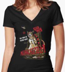 Mecha-Catzilla V2 Women's Fitted V-Neck T-Shirt