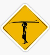 Female Surfer Crossing Warning, Road Sign, California Sticker