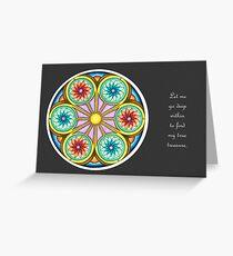 Portal Mandala - Card  w/Message, Grey Background Greeting Card