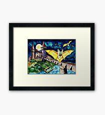Halloween Landscape with Bats and Transylvanian Castle Framed Print