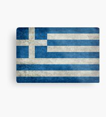 Flag of Greece - Retro vintage Metal Print