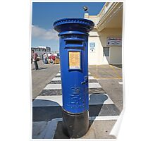 Blue Post Box St Peters Port Guernsey Poster