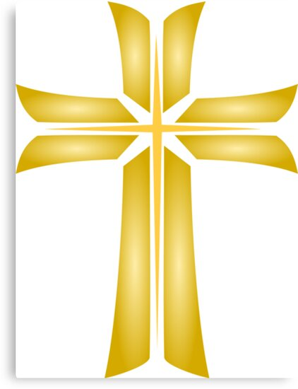 Golden Cross Christian Religious Symbol Canvas Prints By Punith