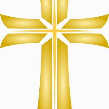 Golden Cross Christian Religious Symbol by punith
