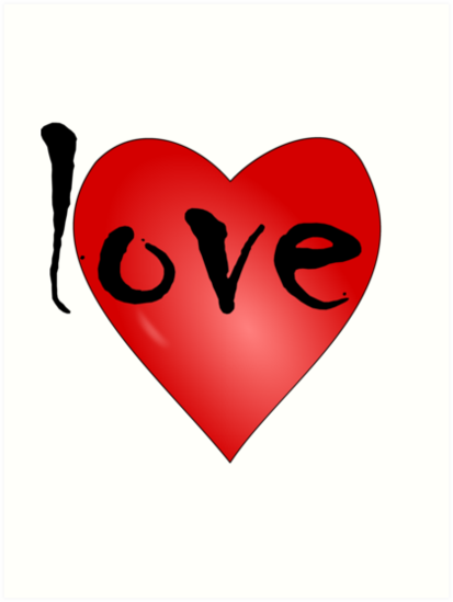 Love Symbol Red Heart With Letters Love Art Prints By Punith
