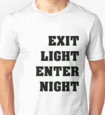 Exit Light Enter Night Black Text T-Shirt