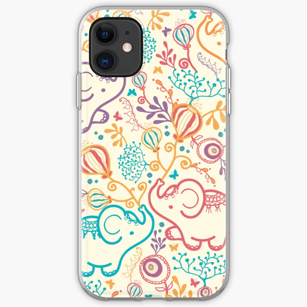 Elephants with bouquets pattern iPhone Case & Cover