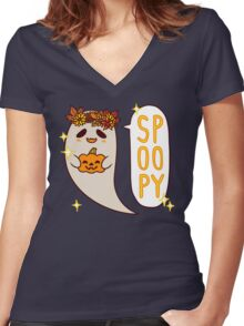Cute Spoopy Ghost (Color Version) Women's Fitted V-Neck T-Shirt