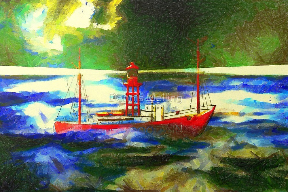 My digital painting of The South Goodwin Light Vessel by Dennis Melling
