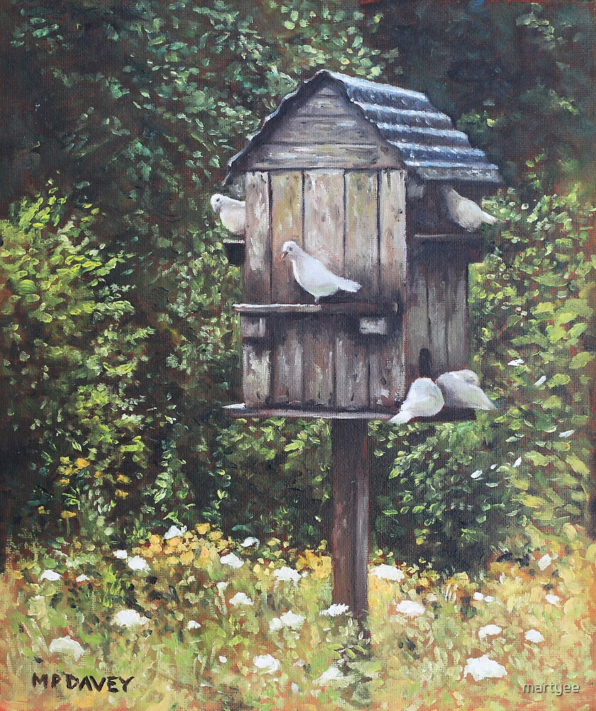 White Doves using a Dovecote  by martyee